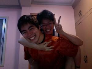 Ganns & Cathy piggybacking