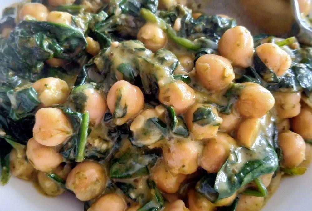 Spinach and Chickpea Pesto Stir Fry