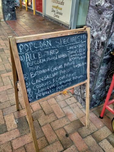 Delight Ice Cream and Popcorn - Outside Chalkboard Menu